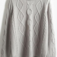 Grey Diamond Patterned Knitted Sweater