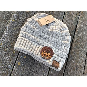 Light Tan or Beige Beanie Hat with Sunflower Tooled Leather Patch Hat