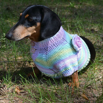 Striped Sweet  Flower Sweater Vest Handmade READY TO SHIP  Openwork For Pets Clothes Hand Knitting Jacket