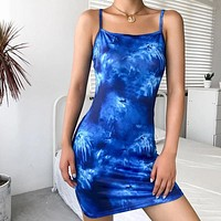 New women's casual tie-dye printed slim suspender dress