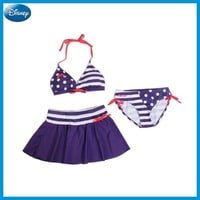 Disney Mickey Minnie Children Swimming Suits Girl lady Blue Navy Swim Dress Dot Kid Cute Outdoor Swimming Clothes DEF32558-B