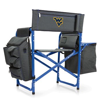 West Virginia Mountaineers - Fusion Backpack Chair with Cooler, (Dark Gray with Blue Accents)