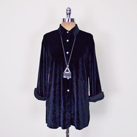 Black Velvet Shirt Crush Velvet Blouse Velvet Top Velvet Tunic Oversize Shirt Button Up Shirt 90s Shirt 90s Grunge Shirt Goth Gypsy S M L