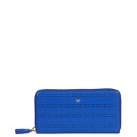 Electric Blue Perforated Leather Zip-Around Wallet