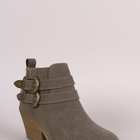 Qupid Nubuck Buckled Chunky Heeled Ankle Boots