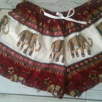 Elephant Aztec Ethnic Print Summer Beach Shorts Boho Chic Tribal Clothing Bohemian Ikat Boxers Rayon Cute Women Unique items in Red Women