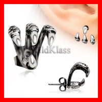 Trident Triple Claw Earring 316L Stainless Steel (Sold Individually) Tiny Stud Earrings Cartilage Earring Helix Jewelry Tragus Piercing