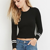 Stripe-Sleeve Knit Top