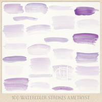 Watercolor clipart strokes banners (100 pc) purple lilac amethyst violet. hand painted for logo design, blogs, cards, printables, wall art