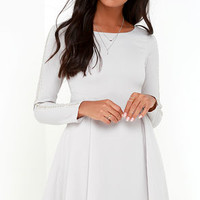 Hello There Light Grey Long Sleeve Beaded Dress