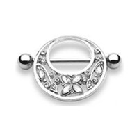 Clear Gem Butterfly & Floral Nipple Ring Shield