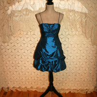 Vintage 80s Prom Dress Midnight Blue Short Formal Spaghetti Strap Dress 80s Formal Vintage Clothing Size 2 Dress XSmall XS Womens Clothing
