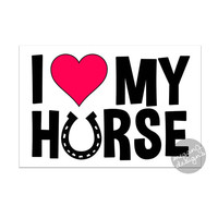I Love My Horse Decal - Vinyl Car Bumper Sticker Laptop Decal Pink Heart Horse Pet Cute Car Decal Equestrian Pony Horseshoe Sticker