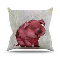 "Rachel Kokko ""This Little Piggy"" Pink White Outdoor Throw Pillow"