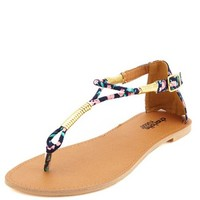 GOLD-WRAPPED GLADIATOR THONG SANDALS