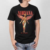 NIRVANA IN UTERO ALBUM GRAPHIC GRunerGE ROCK BAND VINTAGE CONCERT TOUR MEN T-SHIRT Sleeve T Shirt Summer Men Tee Tops Clothing