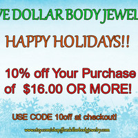 COUPON SAVE 10 Percent Discount Code Body Jewelry Body Piercing