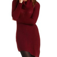 Burgundy Cowl Neck Sweater Dress by Charlotte Russe