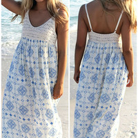 Mediterranean Madness Crochet Trim Blue And Off White Print Maxi Dress
