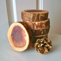 Rustic CEDAR Thick Coasters Aromatic Wood Slices Rustic Decor Cabin Set of Six