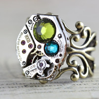 Mothers Ring Antique Brass Birthstone Ring CUSTOM Steampunk Ring Personalized Grandmothers Ring