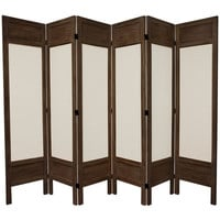 Oriental Furniture FJ-SFMUS-6P-BBRN 5 1/2 Ft. Tall Solid Frame Fabric Room Divider Burnt Brown Six Panel, Width - 17.25 Inches