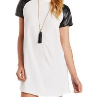 Ivory Combo Faux Leather Raglan Sleeve Shift Dress by Charlotte Russe