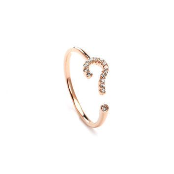Ask Me Question Rose Gold Plated Ring