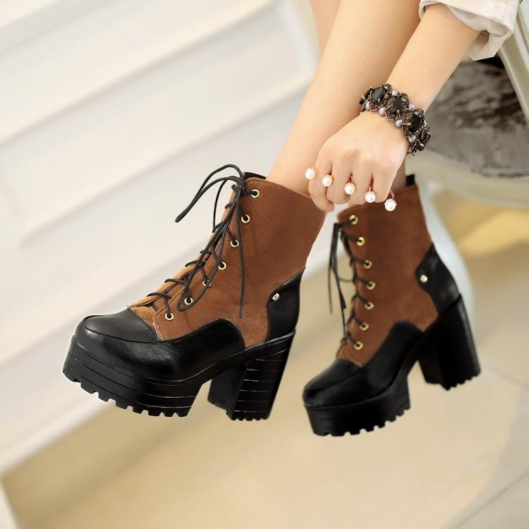 Image of Round Toe Lace Up Platform Ankle Boots Chunky Heel Shoes 2831
