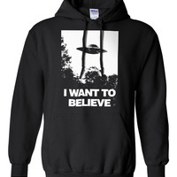 Hooded sweatshirt I Want To Believe UFO X-files Conspiracy Printed hoodie jumper