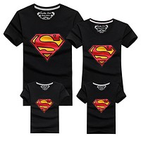 1 Piece New Family Look Superman T Shirts 9 Colors Summer Family Matching Clothes Father & Mother & Kids Cartoon Outfits, HC315