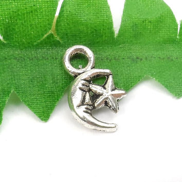 10 Little Silver Moon and Star Charms, Crescent Moon Face, Celestial Charms 12mm x 7mm C83