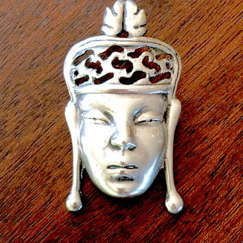 Sterling Asian Face Brooch, Sterling Silver Asian Princess Pin, Figural Asian Queen