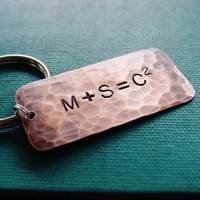 Couple Equation Key Chain, Custom Hand Stamped Copper, Personalized Couple Initials, Family Monogram, Mens Accessory Key Ring, Math Geek