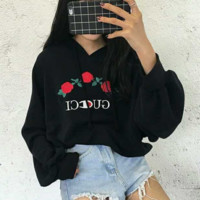 """GUCCI""Fashion  long sleeve Sweater chest three flower embroidery Pullover top"