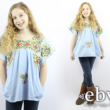 Kid's Vintage 70s Blue Mexican Tunic Top Kids Mexican Dress Girls Mexican Tunic Kids Vintage Tunic Children's Vintage Girls Embroidered Top