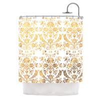 """KESS Original """"Baroque Gold"""" Abstract Floral Shower Curtain"""
