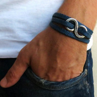Men's Bracelet - Blue Fabric Bracelet With Silver Plated Infinity Pendant - Men's Jewelry - Infinity Jewelry - Love Jewelry - Gift for Him