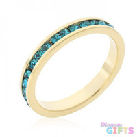 Stylish Stackables Turquoise Crystal Gold Ring (size: 06)