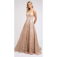 Glitter Long Prom Dress with Spaghetti Straps Rose Gold