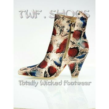 """Mac J Colorful Multi Snake Pointy Toe Modern Cowgirl 4"""" Cone Heel Ankle Boot"""