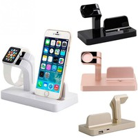 New 2 in 1 Charging Dock For Apple Watch Desk Holder Stand Solid Charger Station For Apple Watch for iPhone 6 6s plus