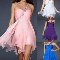 Wedding Womens Formal Party Evening Cocktail Chiffon Short Prom Dress Ball Gown