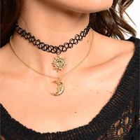 Sun And Moon Choker/ Necklace Set