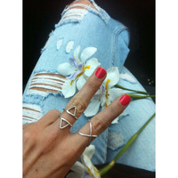 Sterling Silver Ring - Roman Triangle Ring - Tripple Triangle Ring