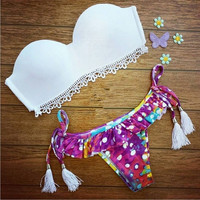 NEW 2015 Women Bandage  Bikini Set Padded Bra Triangle Swimsuit B24 = 1956393156