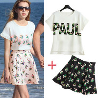 White and Pink Graphic Floral Print T-shirt and Skater Skirt