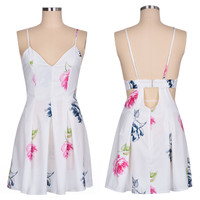 Strap Backless High Waist Print Beach Dress