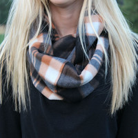 Fleece Plaid Infinity Scarves