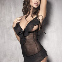 Black Sheer Ruffled Babydoll Lingerie